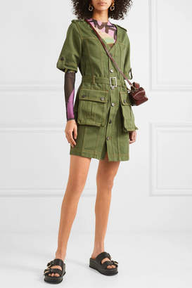 House of Holland Belted Denim Mini Dress - Army green