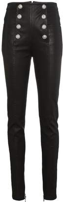Balmain High Waisted Leather Skinny Trousers