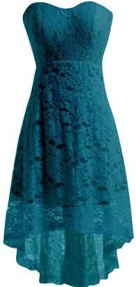 Miranda's Bridal Women's High Low Sweetheart Short Mini Lace Bridesmaid Dress US22W