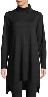 Eileen Fisher Merino Jersey Turtleneck Sweater Dress