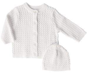 Little Me Newborn Cable-Knit Sweater and Cap