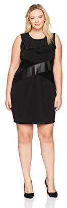 Calvin Klein Women's Plus Size Sleeveless Pu and Suede Mix Dress