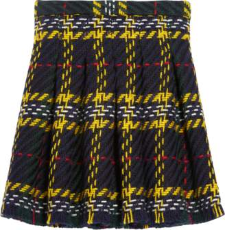 Oscar de la Renta Big Plaid Tweed Box Pleat Skirt