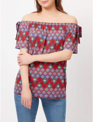 George Printed Bardot Top