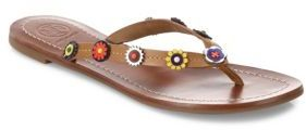 Tory Burch Marguerite Terra Leather Thong Sandals $135 thestylecure.com