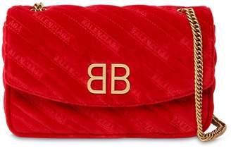 Balenciaga Bb Round S Velvet Shoulder Bag