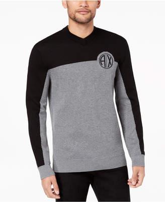Armani Exchange Men's Two-Tone Textured Logo-Print V-Neck Sweater