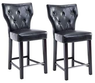 CorLiving Kings Counter Height Barstool in Bonded Leather, Set of 2