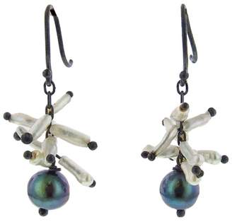 Ten Thousand Things Black Pearl with Keshi Spike Cluster Earrings
