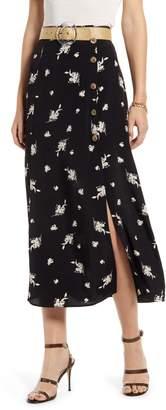 Something Navy High Waist Midi Skirt