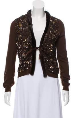 Blumarine Fur-Trimmed Embellished Cardigan Brown Fur-Trimmed Embellished Cardigan
