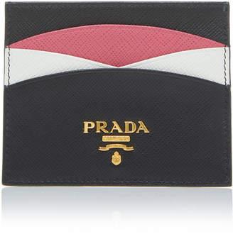 Prada Color-Blocked Textured-Leather Cardholder