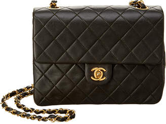 Chanel Dark Green Quilted Lambskin Leather Small Single Flap Bag
