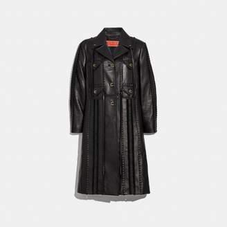 Coach Embellished Leather Coat
