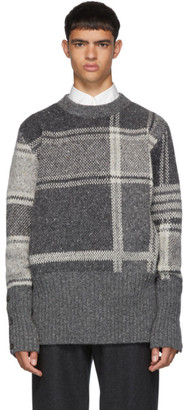 Thom Browne Grey Plaid Oversized Crewneck Pullover