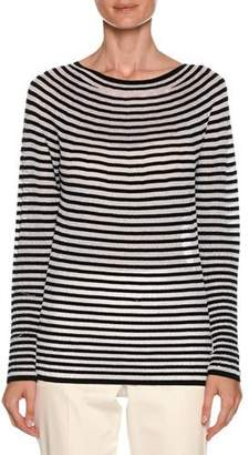 Giorgio Armani Graphic-Striped Round-Neck Long-Sleeve Knit