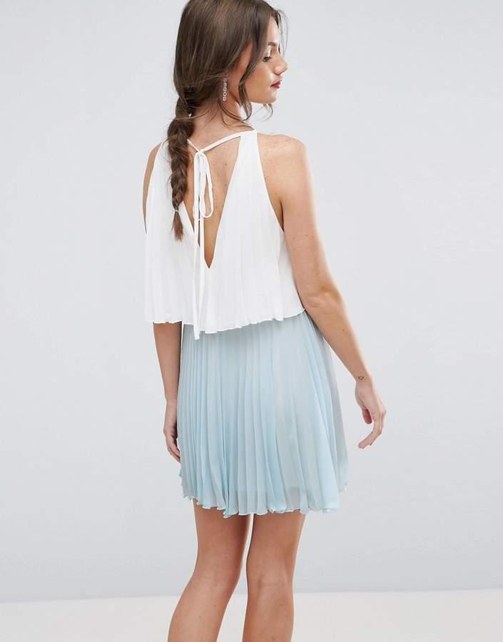 AsosASOS Tiered Color Block Mini Pleated Dress