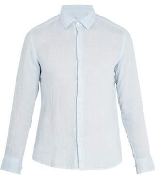 Altea Point Collar Linen Shirt - Mens - Light Blue