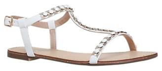 Carvela Blaze T-Bar Embellished Sandals, White