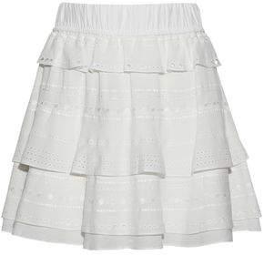IRO Tiered Embroidered Crepe Mini Skirt