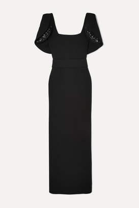 Safiyaa Dara Crystal-embellished Stretch-crepe Gown - Black