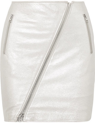 Current/Elliott The Belen Metallic Textured-leather Mini Skirt - Silver