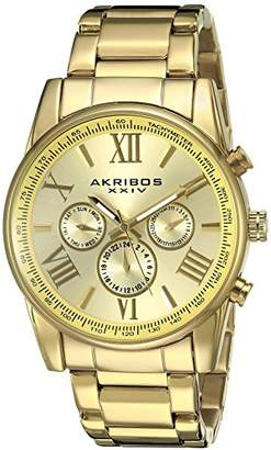 Akribos XXIV Men's AK904YG -Tone Multi-Function Quartz Bracelet Watch
