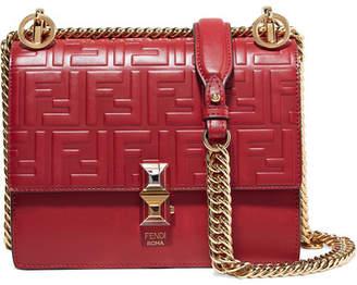 Fendi Kan I Embossed Leather Shoulder Bag - Red abb15457738d2