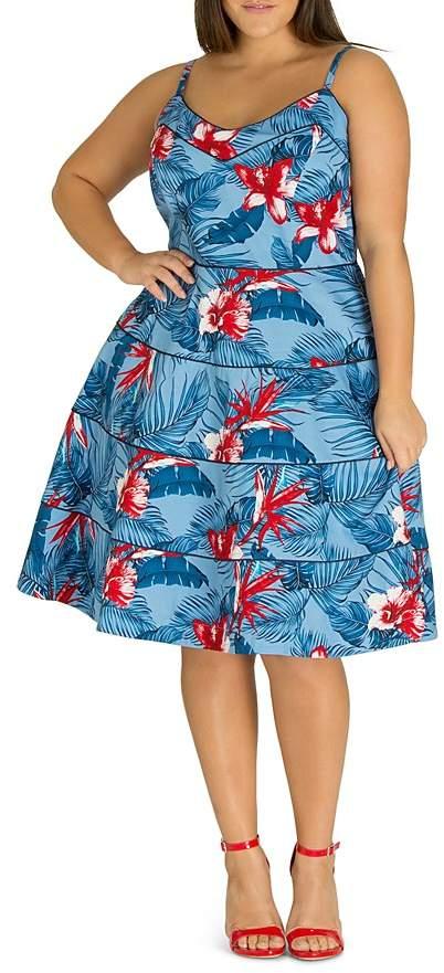Plus Love Hawaii Piped Tropical-Print Dress