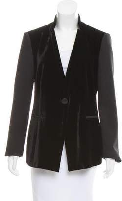 Emporio Armani Velvet-Paneled Structured Jacket