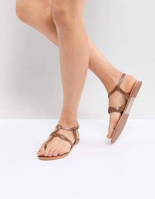 New Look Leather Twist Toe Post Flat Sandal
