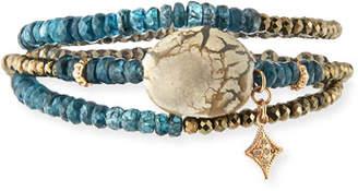 Armenta New World Triple-Wrap Kyanite, Pyrite & Opal Beaded Bracelet