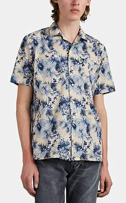 Barneys New York Men's Tropical-Floral Cotton Short-Sleeve Shirt