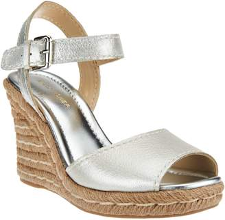 Marc Fisher Leather Peep- toe Espadrille Wedges - Maiseey