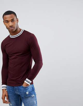 Asos DESIGN Muscle Fit Long Sleeve T-Shirt With Contrast Tipping In Pique In Red