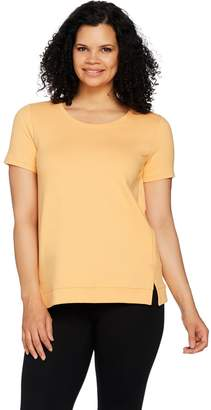 Halston H By H by French Terry Short Sleeve Top with Hi-Low Hem