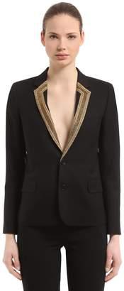 Saint Laurent Wool Gabardine Blazer W/ Decorative Trim