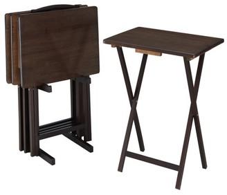Mainstays Walnut 5-Piece Folding TV Tray Table Set (4 Trays, 1 Stand)