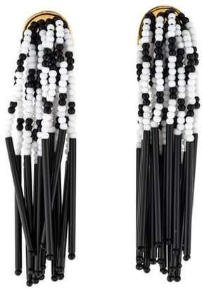 Lele Sadoughi Striped Bead Fringe Drop Earrings