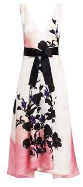 Monique Lhuillier Floral Print Full Skirt Dress