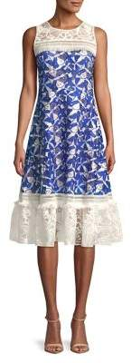 Badgley Mischka Belle Embroidered Lace Midi Dress