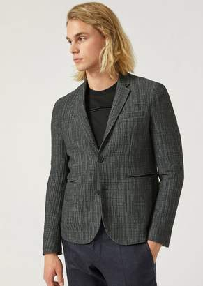 Emporio Armani Single-Breasted Patterned Stretch Jersey Jacket