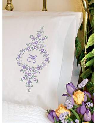 """Dimensions Daisy Monogram"""" Pillowcase Pair Stamped Embroidery, 20"""" x 30"""""""