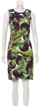 Dolce & Gabbana Eggplant Printed Dress Purple Eggplant Printed Dress