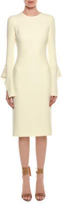 Tom Ford Bell-Sleeve Silk Sheath Cocktail Dress