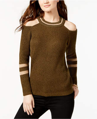 INC International Concepts I.n.c. Petite Striped Cold-Shoulder Sweater, Created for Macy's
