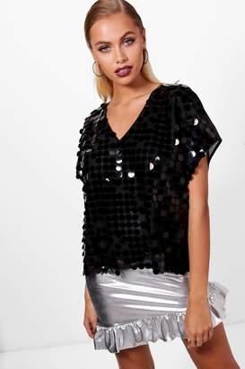 boohoo Sequin Oversized T-Shirt