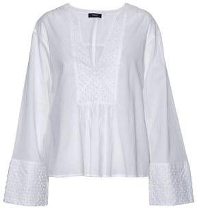 Theory Pointelle And Swiss Dot-Trimmed Cotton-Gauze Top