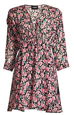 The Kooples Women's Long Sleeve Floral V-Neck Dress