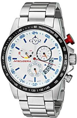GV2 by Gevril Scuderia Mens Chronograph Swiss Quartz Alarm GMT Stainless Steel Sports Racing Watch